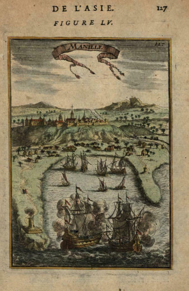 Manila city view Philippines 1683 Mallet early miniature city view hand color