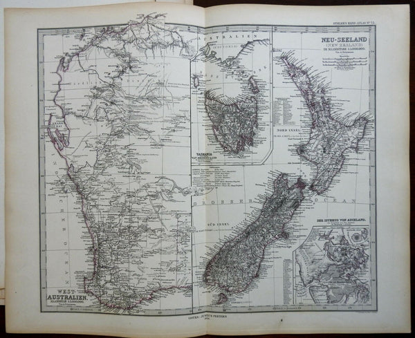 Australia New Zealand Tasmania Auckland Perth 1878 Stieler detailed map