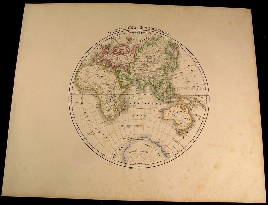 Eastern Hemisphere Europe Africa Asia Australia 1855 Flemming old antique map