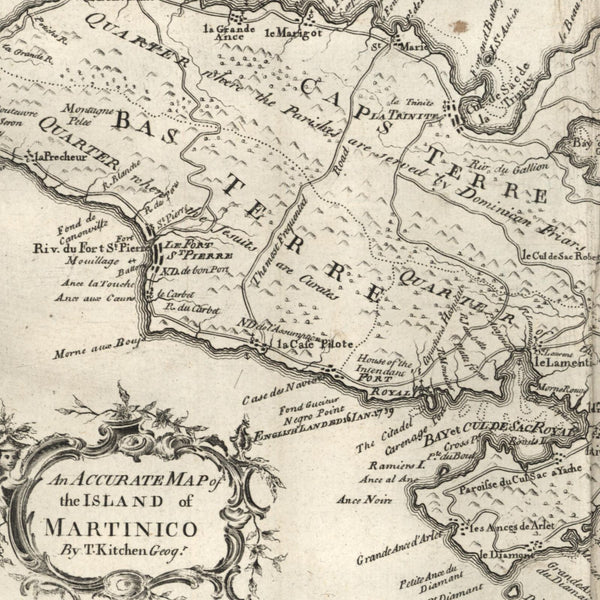 Martinico Martinque Antilles Caribbean island 1762 scarce old periodical map