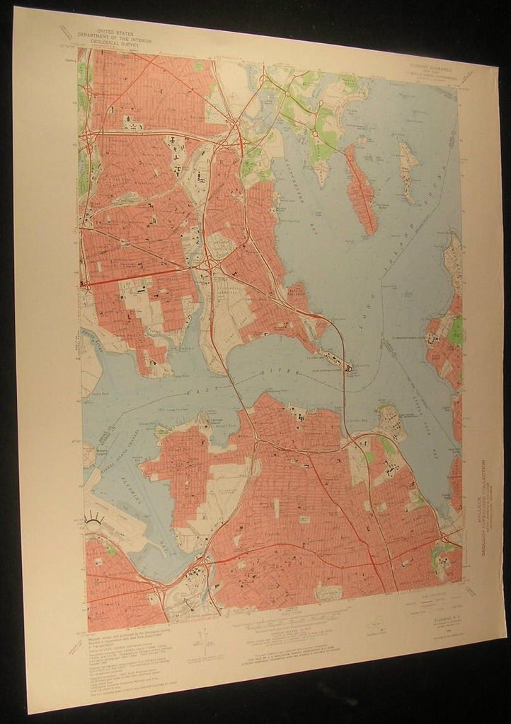 Flushing New York La Guardia Airport Kings Pt. 1968 antique color lithograph map
