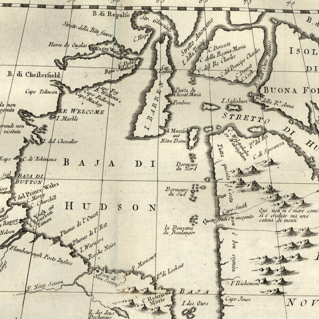 Map Of Canada James Bay.Hudson Bay Quebec Ontario Canada Bellin 1781 Rare Italian Version