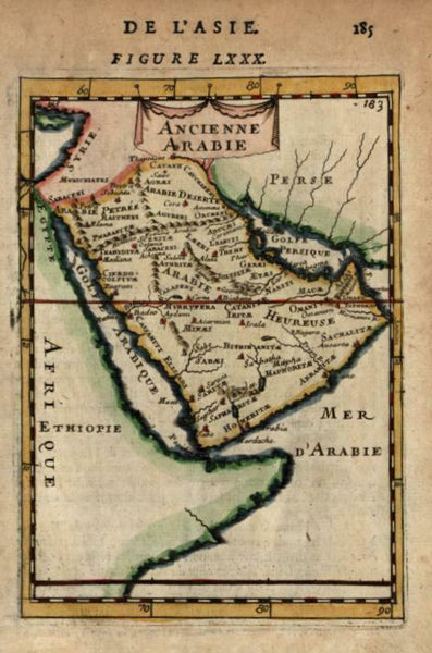 Ancient Arabian Peninsula Red Sea Persian Gulf Petra 1683 Mallet miniature map
