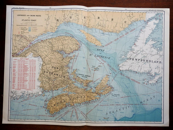 Lighthouses and Shipping Lanes Eastern Canada Quebec 1915 color lithographed map
