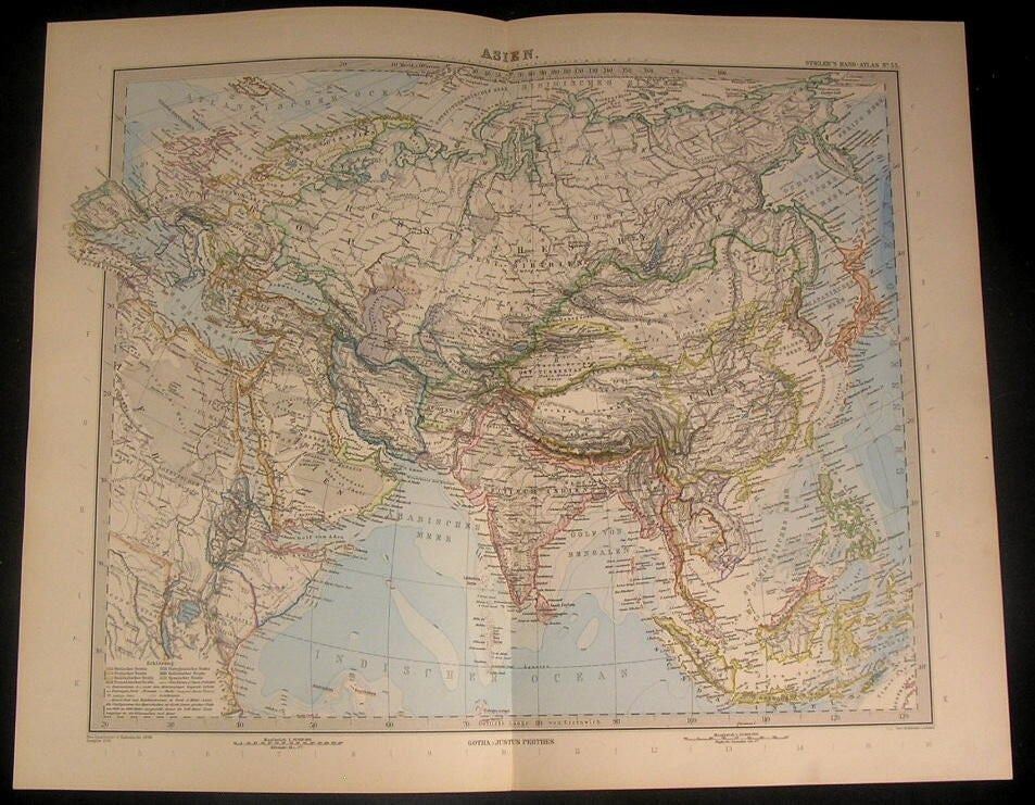 Asia Arabia to Japan China 1894 antique Stieler German engraved hand color map