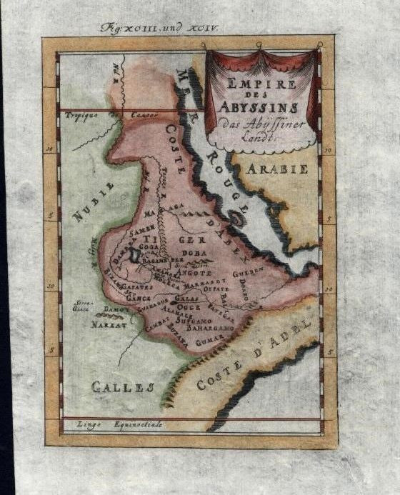 Red Sea Coast Africa Abex Arabia 1719 charming antique engraved map hand color