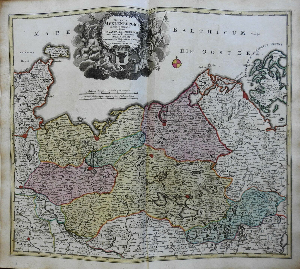Ducky of Mecklenberg Holy Roman Empire Germany c 1750 Homann decorative map