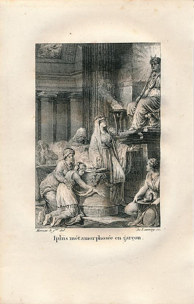 Iphis turned into a man Delightful 1808 Mythology print