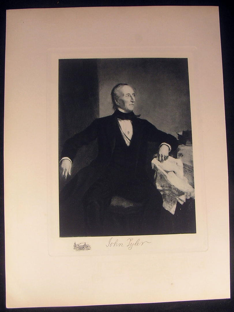 John Tyler President 1901 large antique photogravure portrait print