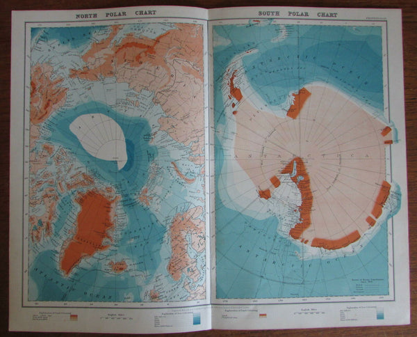 North & South Pole Polar Charts Antarctic Arctic 1924 detailed vintage map color