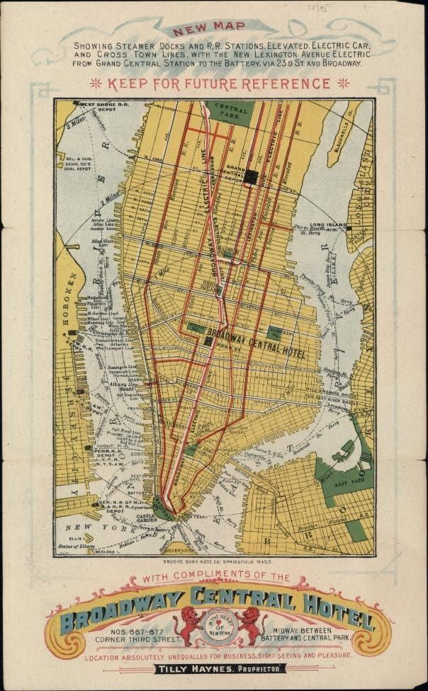 New York City plan c.1880's Broadway Central Hotel Promotional map rare banknote