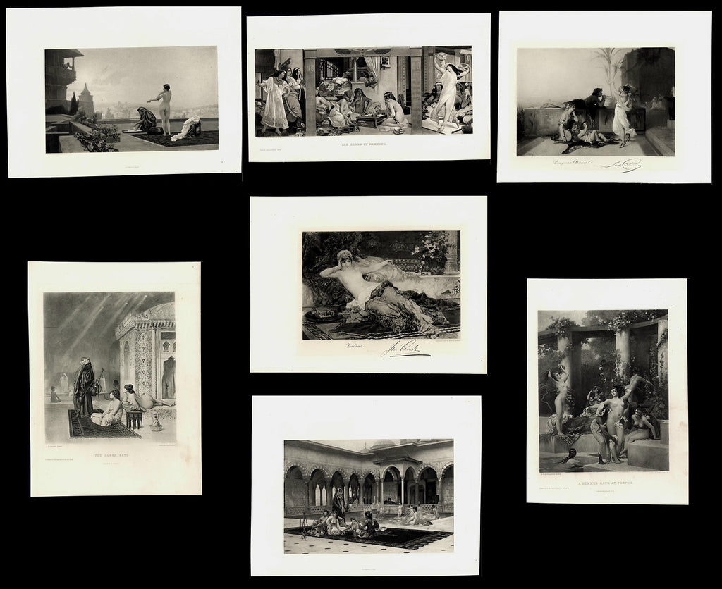 Harems nude women 19th century collection 7 old fine art prints