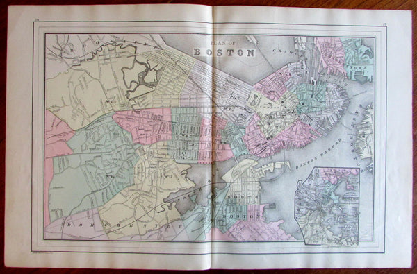 Boston Mass. city plan 1887 Mitchell Bradley large detailed old map hand colored