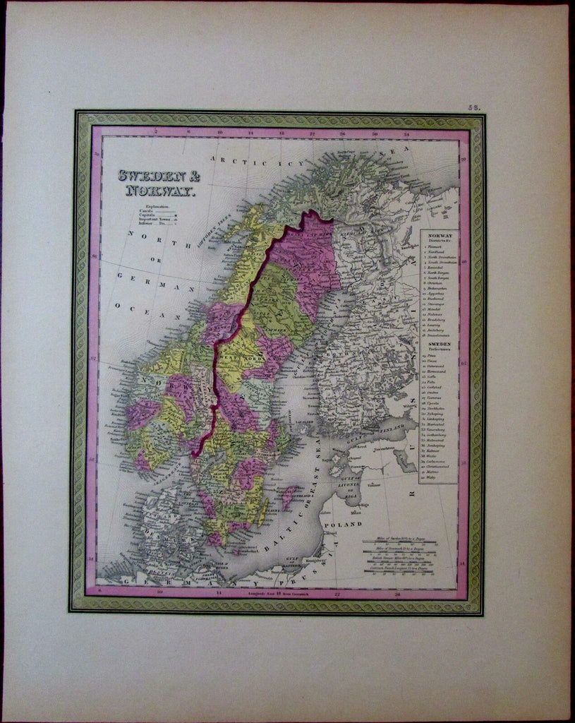 Sweden Norway Scandinavia 1851 Cowperthwait Mitchell scarce map