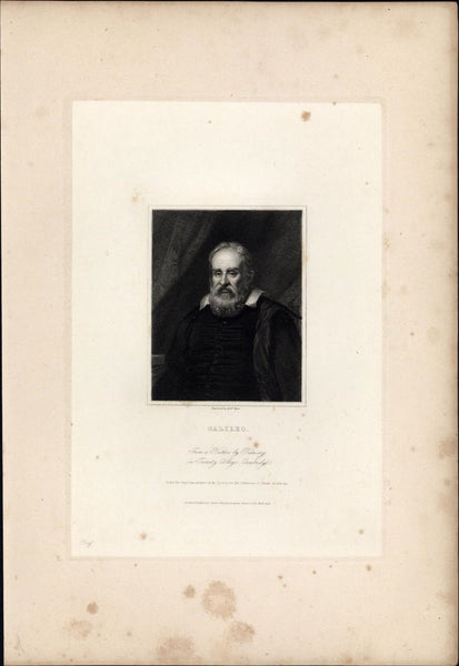 Galileo Galilei Astronomer Scientist 1834 engraved portrait print India proof