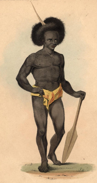 Papua New Guinea Native 1855 beautiful ethnic print lovely hand color