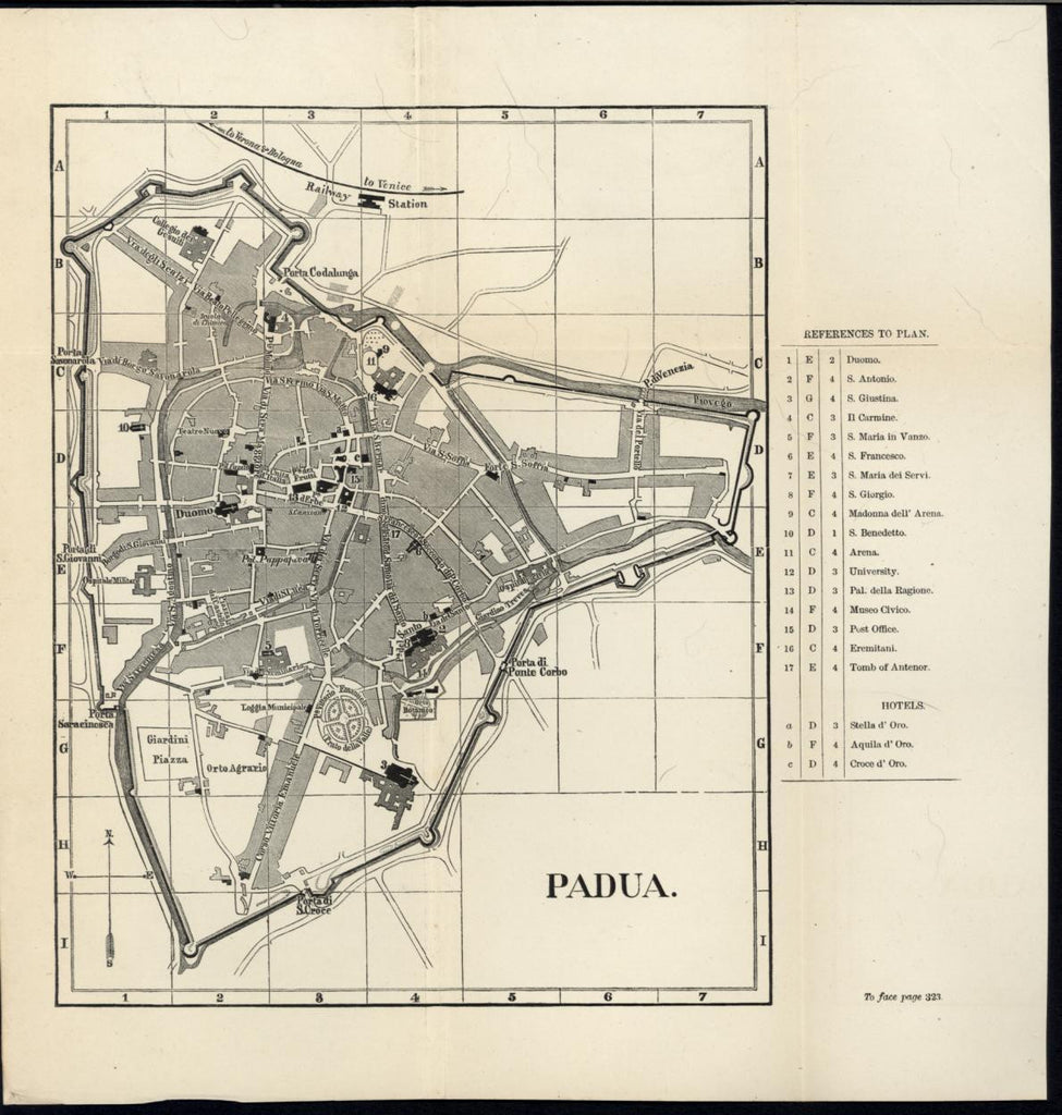 Padua Defensive Walls Cathedral Dome Italy 1877 antique lithograph city plan