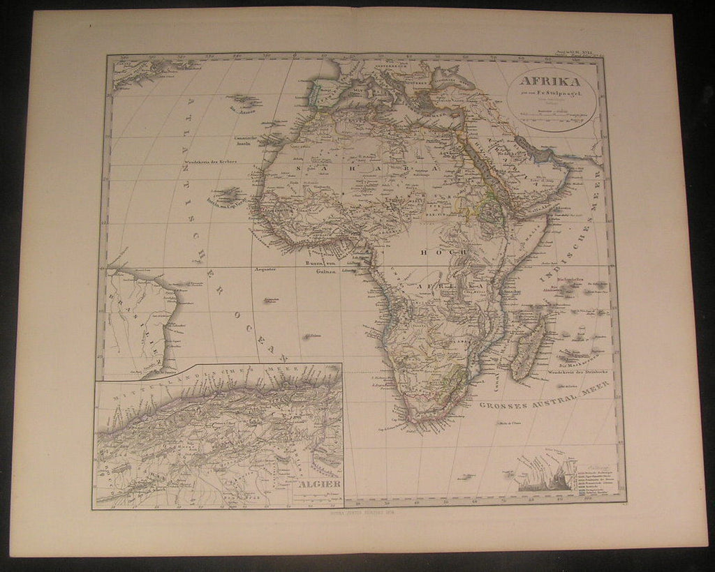 Africa 1874 by Stulpnagel old vintage antique engraved hand color map