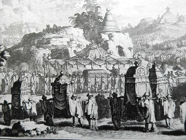 Chinese Funeral Procession Caskets Temple Views 1748 Bellin engraved print