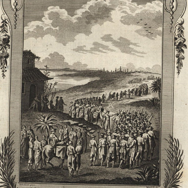 Japan military formation marching in landscape 1778 nice old engraved print
