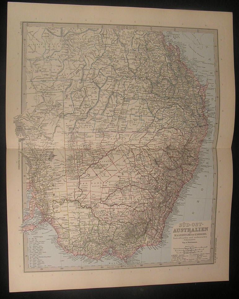 South East Australia 1894 Stieler Sud-Ost Australien NSW antique color map