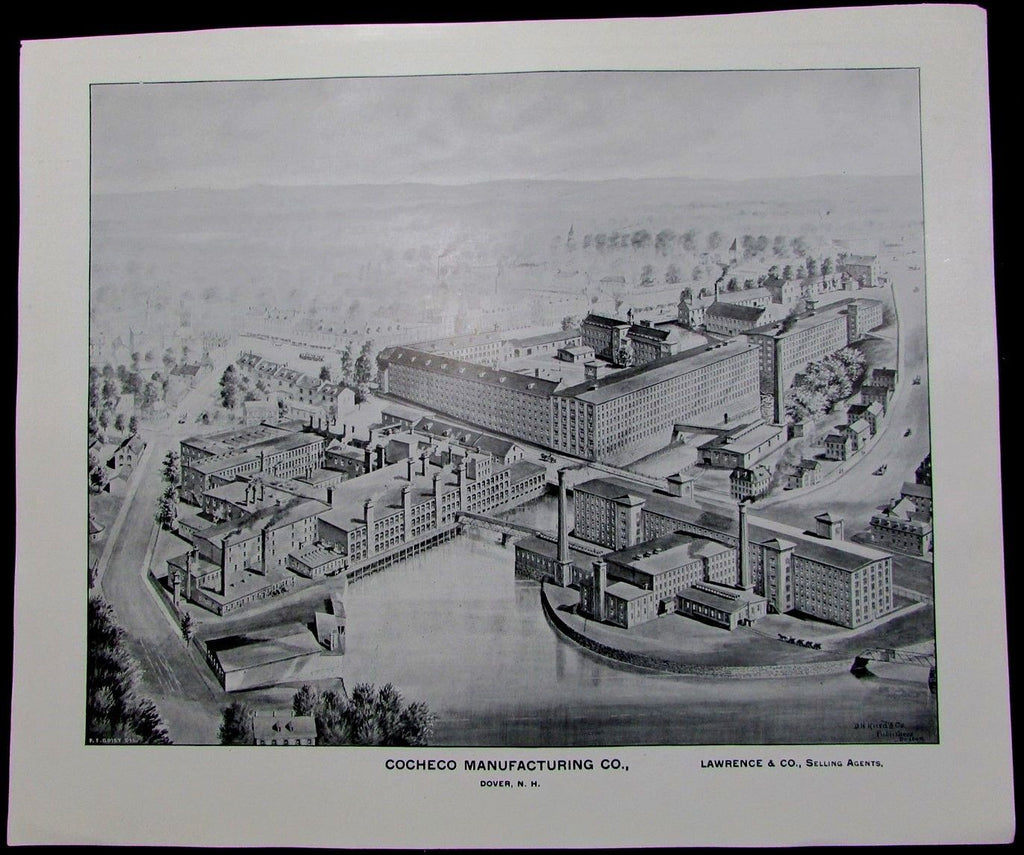 Cocheco Manufacturing Co Dover New Hampshire 1892 original antique birdseye view