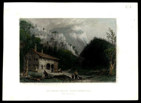 Notch House White Mountain New Hampshire c.1840's Bartlett hand colored print