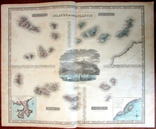 Islands in the Atlantic Cape Verde Canary Azores Maderia Teneriffe c.1855 Map