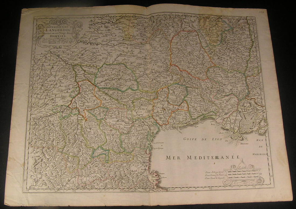 Southern France Gulf of Lyon Rhone River 1667 fine Sanson antique color map