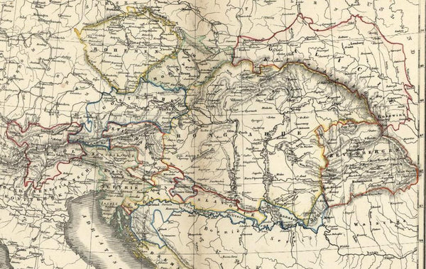 Austria-Hungary Bohemia Bosnia Balkans Dalmatia c.1850 antique map