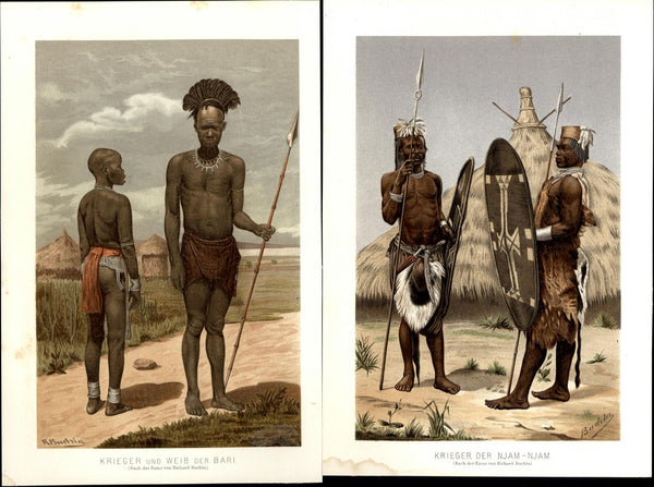 African Warriors spears shields Njam Njam Weib Bari 1895 color costume 2 prints
