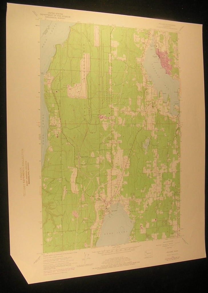 Poulsbo Washington Dyes Inlet Liberty Bay 1975 antique color lithograph map