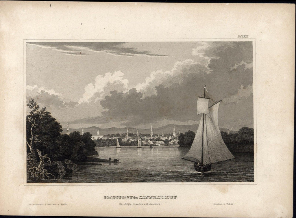 Hartford Connecticut River sailing ships c.1840 old antique print city view