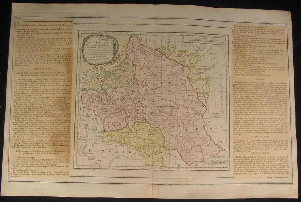 Poland Lithuania Prussia Gulf Danzig 1766 beautiful old vintage antique rare map