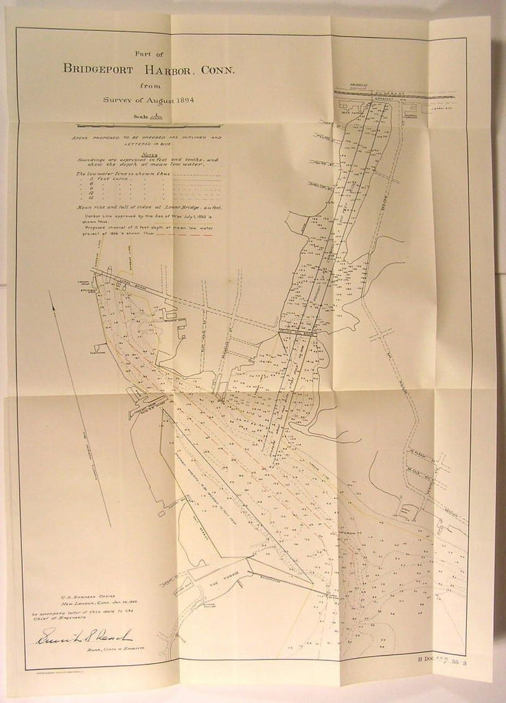 Bridgeport Harbor Connecticut Dredged Areas 1899 U.S.C.S. old nautical map
