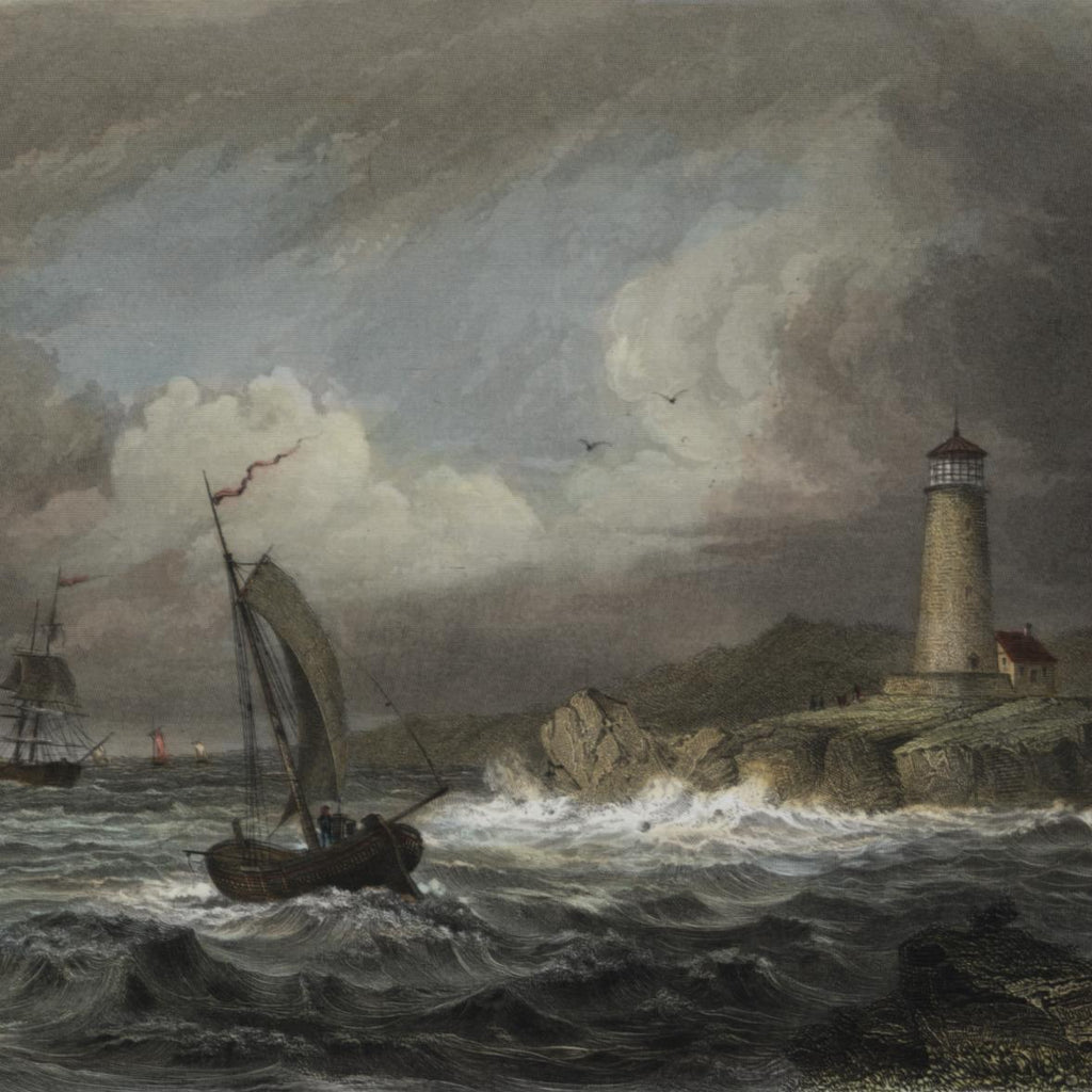 Maine coastal Desert Rock lighthouse view 1852 lovely antique hand color print