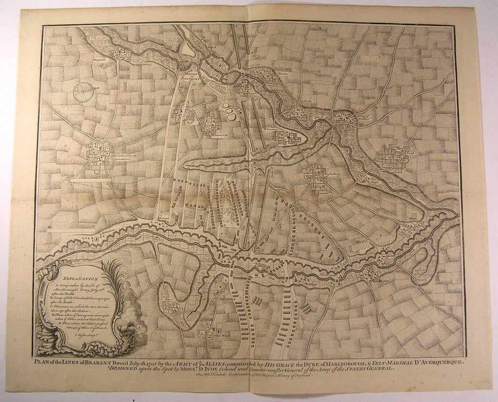 Troop Lines Brabant British Allies 1705 Belgium c.1745 antique Basire map