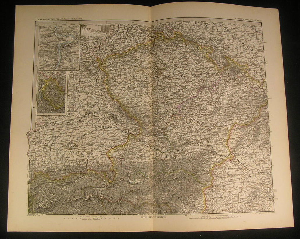Austria Hungarian Empire Bohemia Bavaria Swabia 1882 antique engraved color map
