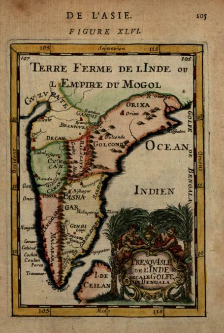 Southern India Mughal Empire Maratha Confederation 1683 Mallet miniature map
