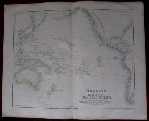Oceania Australia Hooked Lake Torrens myth c.1860 Fullarton Johnson large map