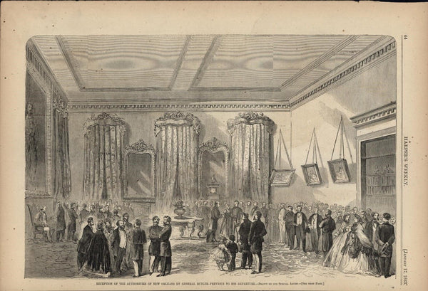 Reception Rebel Authorities New Orleans 1863 old Harpers Civil War print