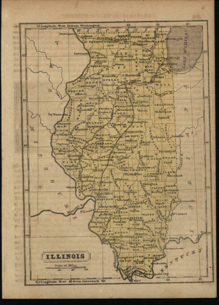 Illinois state in c.1857 scarce antique Boynton map original hand color