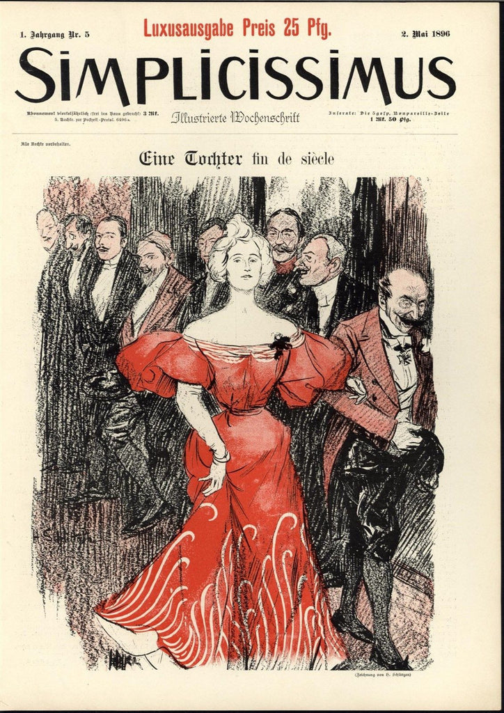 Beautiful Blonde Crimson Dress Formal Party 1896 antique color Art Nouveau print