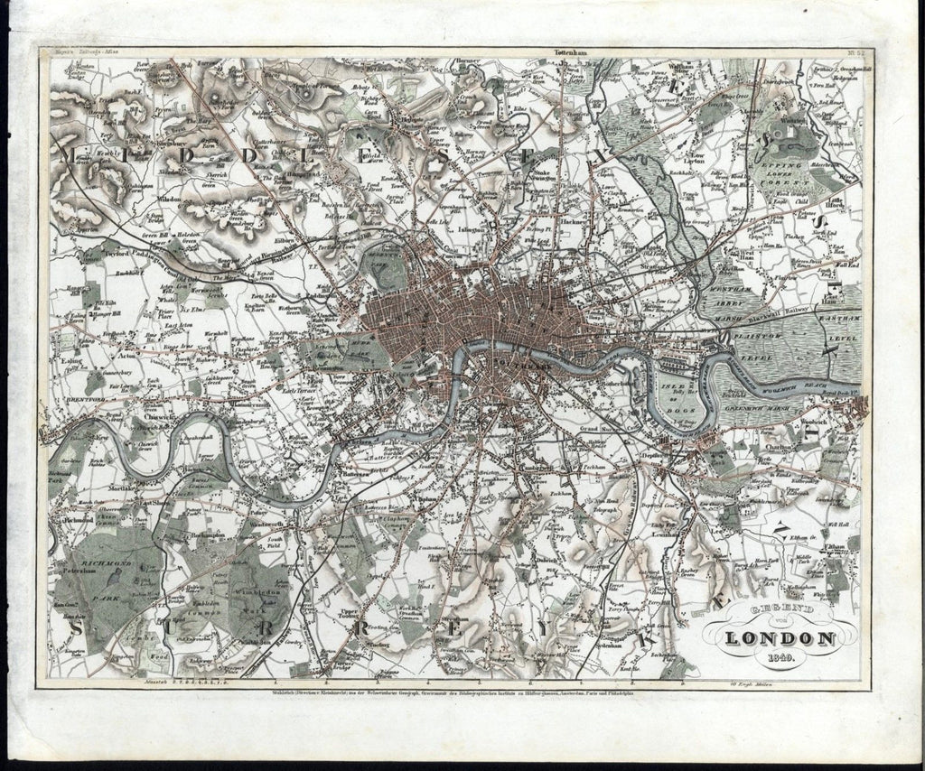 London England Middlesex Surrey Kent Essex 1849 fine old city plan antique map