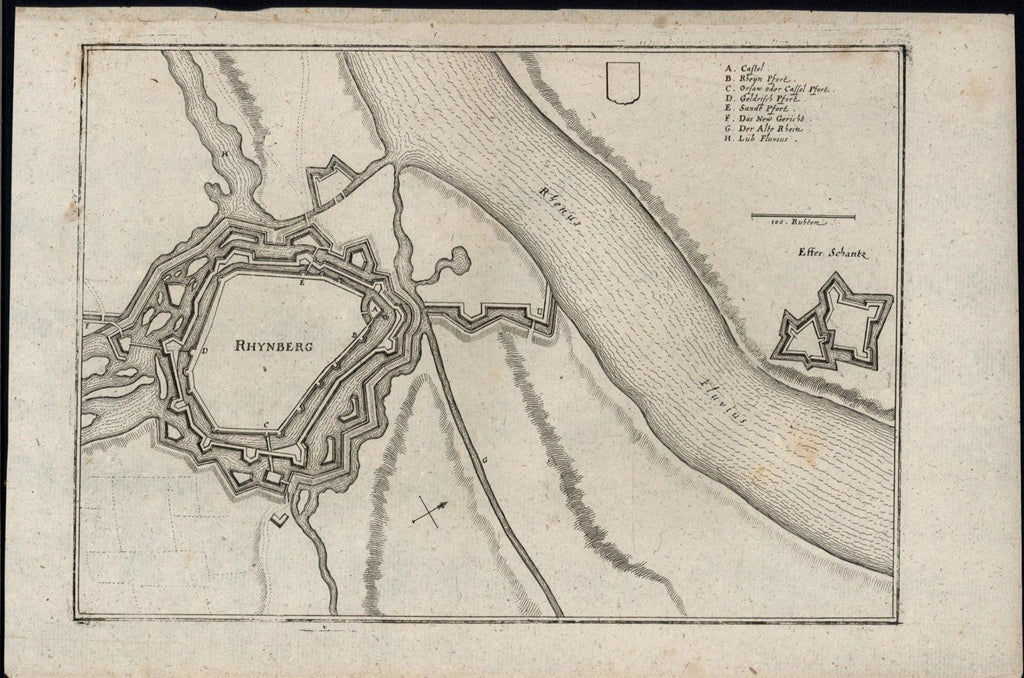 Rheinberg Germany Rhine river 1700's antique engraved fortification plan map