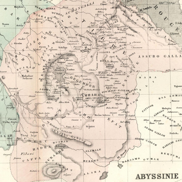Africa Abyssinia Nubia detailed 1855 Dufour old map hand color scarce