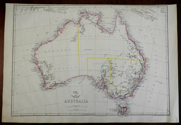 Australia continent 1857 Weller Weekly Dispatch large map Tooley Mapping #1316