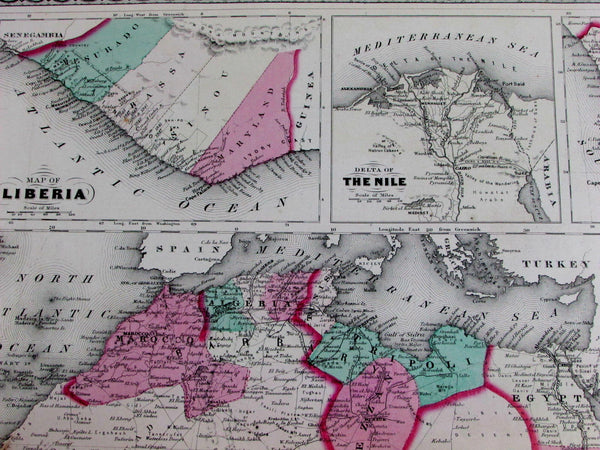Africa continent Supposed Mt. Chain Lake unknown 1870 Johnson large antique map