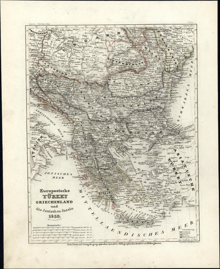 European Turkey Balkans Bulgaria Greece c.1850 Meyer scarce detailed antique map