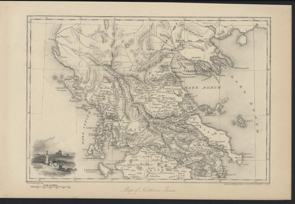 Northern Greece Arcadia  1882 antique steel engraved map